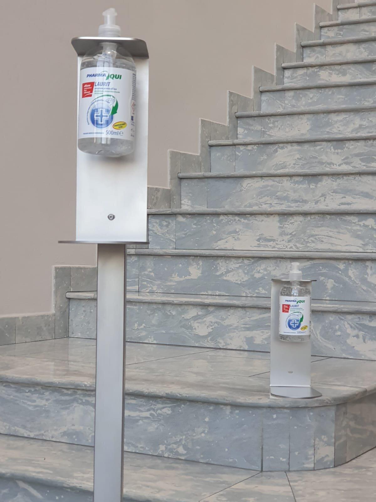 supporto inox per gel igienizzante